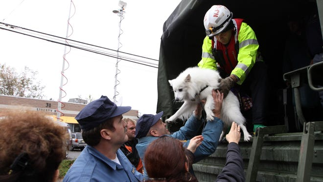 Residents and their dog are evacuated from a neighborhood in Little Ferry, New Jersey, one day after Hurricane Sandy slammed the East Coast.