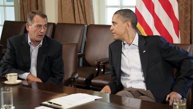 President Obama meets with House Speaker John Boehner on July 23, 2011, during negotiations over raising the debt ceiling.