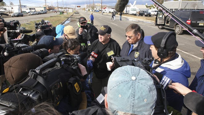 Seaside Heights Police Chief Tom Boyd, left, and Toms River Police Chief Michael Mastronardy give a press conference on Rt. 37 in Toms River, N.J. on Oct. 31.