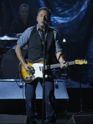 "In this photo provided by NBC, Bruce Springsteen performs during ""Hurricane Sandy: Coming Together"" on Nov. 2, 2012, in New York. Hosted by Matt Lauer, the event is heavy on stars identified with New Jersey and the New York metropolitan area, which took the brunt of this week's deadly storm."