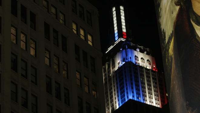 A view of the Empire State Building in New York projecting an LED-illuminated meter to show the results of the 2012 presidential Election as CNN counts the numbers of electoral votes for each candidate