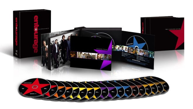 The 18-disc DVD and Blu-ray sets include all eight seasons and 96 episodes of 'Entourage.'
