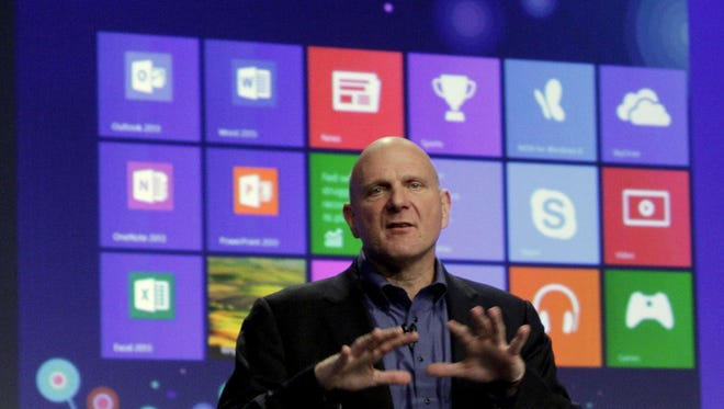Microsoft CEO Steve Ballmer gives his presentation at the launch of Microsoft Windows 8 in New York in October.
