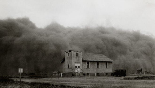 The huge Black Sunday storm strikes the Church of Good in Ulysses, Kansas, 1935. The heart of the Dust Bowl covered more than 100 million acres in Texas, Oklahoma, New Mexico, Colorado and Kansas.