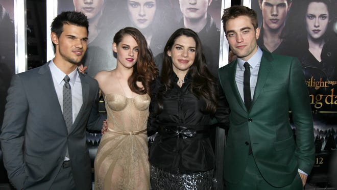 Taylor Lautner, left, Kristen Stewart, 'Twilight' author Stephenie Meyer and Robert Pattinson at the world premiere of 'The Twilight Saga: Breaking Dawn -- Part 2,' the final film in the 'Twilight' series, in Los Angeles.
