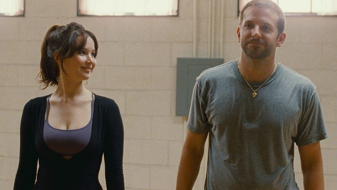 Jennifer Lawrence and Bradley Cooper in the  comedy 'Silver Linings Playbook,' which earned four nominations.