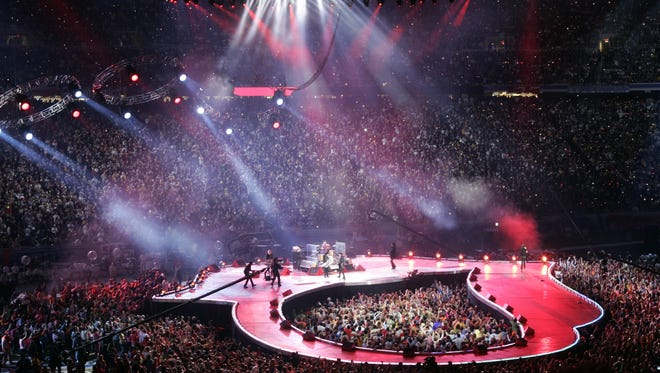 The Rolling Stones perform during the halftime show at Super Bowl XL in Detroit on Feb. 5, 2006. The set for the band's 2012 shows will also feature a central standing-room area for fans.