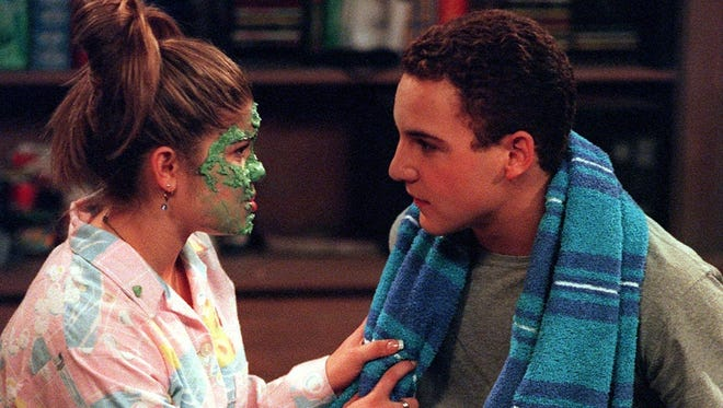 Topanga (Danielle Fishel) and Cory (Ben Savage) as we remember them, from a 1997 episode of ABC's 'Boy Meets World.' They return as parents in the in-development series 'Girl Meets World' for Disney Channel.
