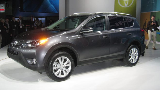 The redesigned 2013 RAV4 at its unveiling at the Los Angeles Auto Show.