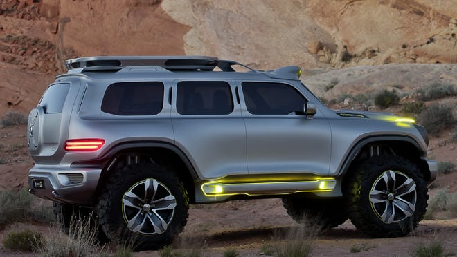 Mercedes-Benz Ener-G-Force is provocative look at rugged SUV in 2025, but is pure fantasy, M-B says.