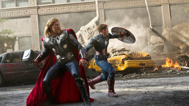 Chris Hemsworth portrays Thor, with Chris Evans as Captain America, in 'The Avengers.'