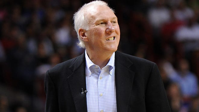Spurs coach Gregg Popovich reacts during the second half against the Heat at American Airlines Arena. The Heat won 105-100 in a game in which Popovich rested four players, sending them home from the road trip.
