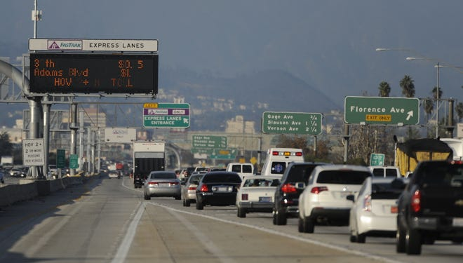 The High Occupancy Toll (HOT) lanes on the Harbor Freeway in Los Angeles.
