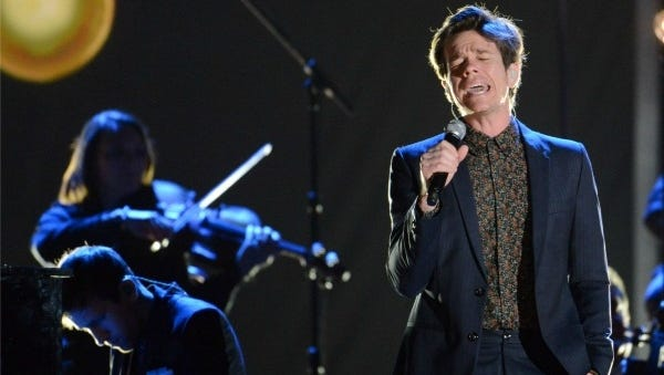 Nate Ruess of fun. rehearses for 'Grammy Nominations Concert Live!' at the Bridgestone Arena.