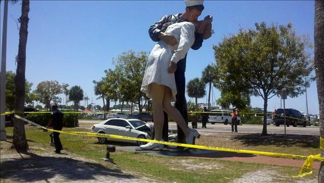 """A car traveling northbound on U.S. 41 in April went across the center median and slammed into the 26-foot tall """"Unconditional Surrender"""" statue in front of Sarasota Bayfront Park."""