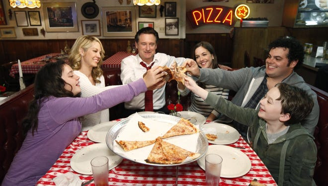 The family in '1600 Penn,' from left, Amara Miller, Jenna Elfman, Bill Pullman, Martha MacIsaac, Josh Gad and Benjamin Stockham --  gets a rare night out as just an ordinary family.
