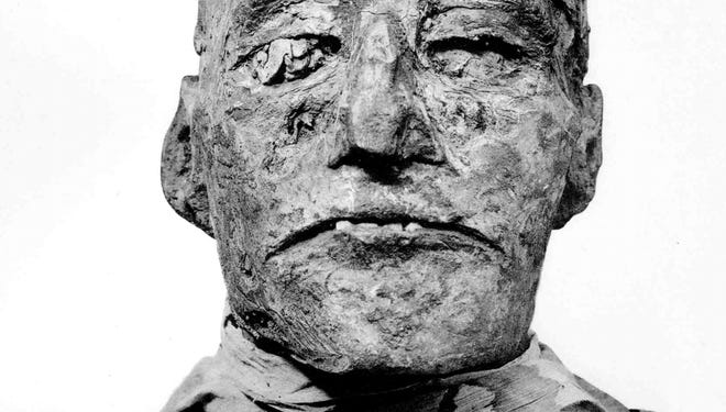 The mummy of Ramses III, killed in an 1155 BC palace coup attempt.