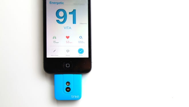 The pocket-sized Tinke device connects to an app on the iPhone to measure heart rate and other health indicators. The Tinke starts at $119.