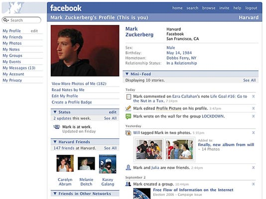 zuckerberg facebook page