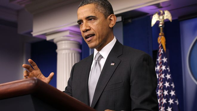 President Obama speaks at the White House on Wednesday.