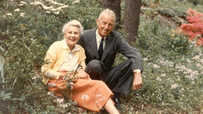 Bill and Lois Wilson, the founders of Alcoholics Anonymous and Al-Anon, respectively, sit outside their Katonah, N.Y. home, Stepping Stones, in 1960.