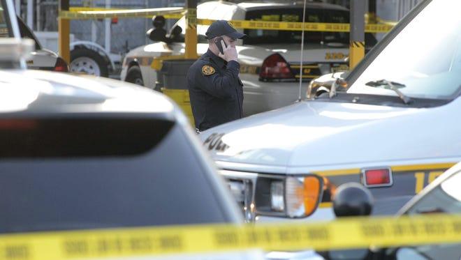 Gunfire erupted Dec. 28 at Gloucester Township., N.J., police headquarters.