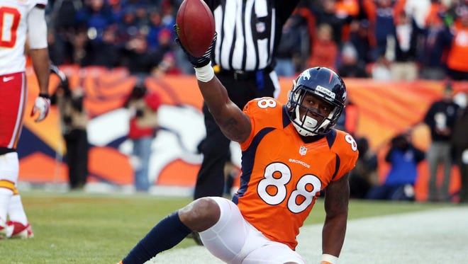 Denver Broncos wide receiver Demaryius Thomas (88) celebrates his touchdown catch against the Kansas City Chiefs in Sports Authority Field in Denver on Dec. 30, 2012.