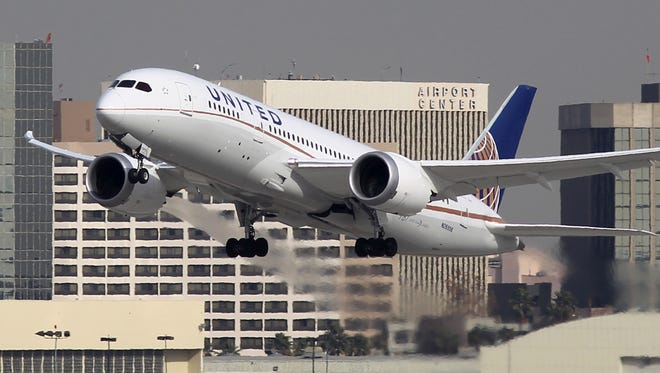A Boeing 787 Dreamliner operated by United Airlines takes off at Los Angeles International Airport earlier this week.
