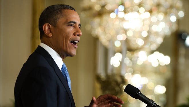 President Obama speaks at a news conference at the White House on Monday.
