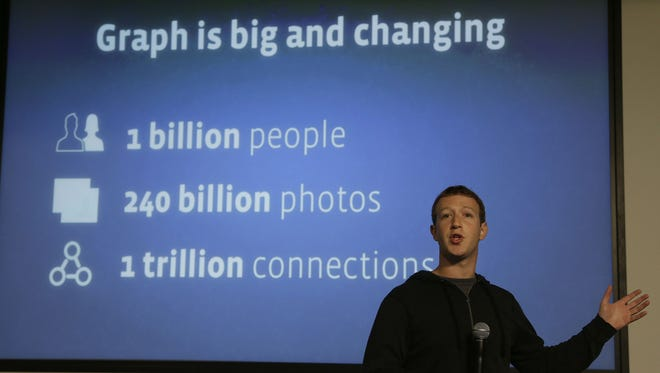 Facebook CEO Mark Zuckerberg speaks about Facebook Graph Search at their headquarters in Menlo Park, Calif.