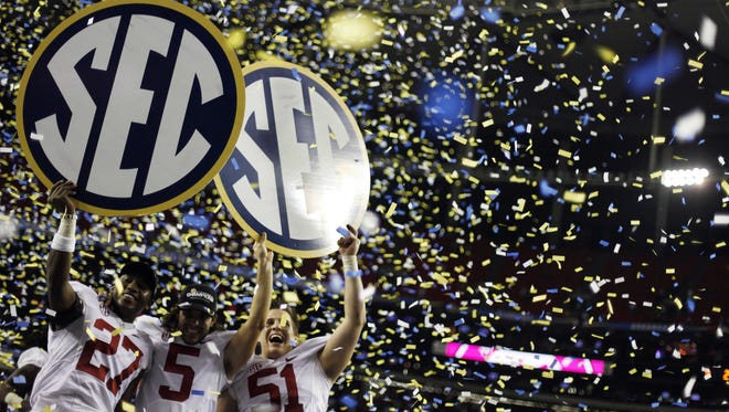 Alabama athletes celebrate after winning the 2012 SEC Championship game. In 2010, the SEC spent an average of $163,931 per athlete.