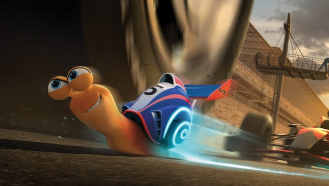 Turbo (voiced by Ryan Reynolds) faces off with the roaring competition at the Indianapolis 500.