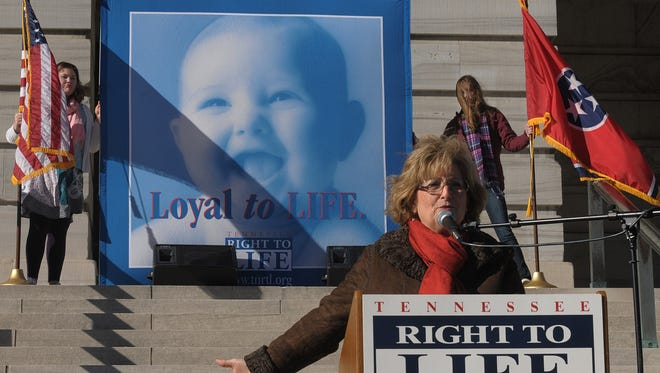 Rep. Diane Black, R-Tenn. addresses a Tennessee Right to Life Rally on Saturday in Nashville, Tenn.