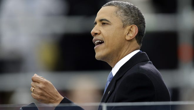 In his inaugural address Monday, President Obama pledged to promote a liberal agenda on issues such as global warming, gun control and gay marriage.