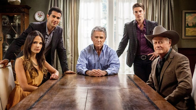 A sit-down with the Ewings: Jordana Brewster, left, Jesse Metcalfe, Patrick Duffy, Josh Henderson and Larry Hagman.