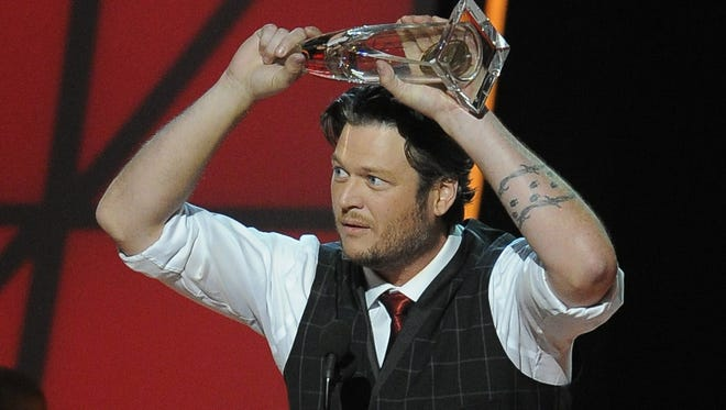 """Blake Shelton wins """"Entertainer of the Year """" at the 46th Annual CMA Awards on November 2."""