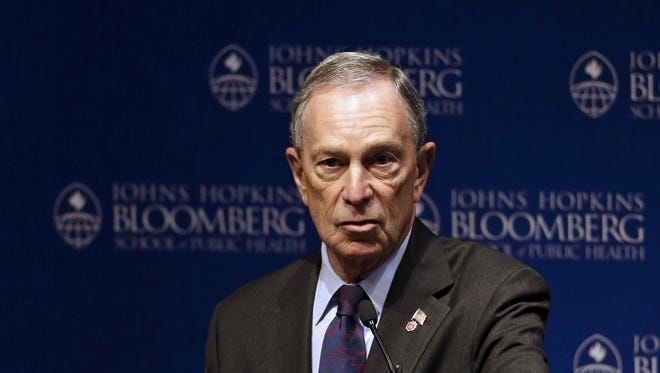 New York City Mayor Michael Bloomberg speaks at a gun violence summit at Johns Hopkins Bloomberg School of Public Health in Baltimore, Monday, Jan. 14.