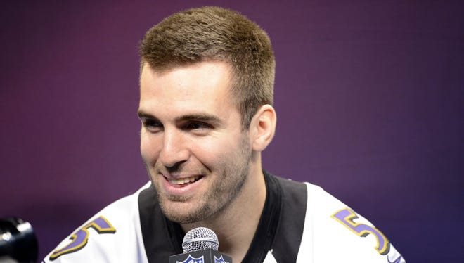 Baltimore Ravens quarterback Joe Flacco talks to the press during media day at the Mercedes-Benz Superdome on Jan. 29, 2012.