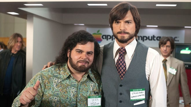 Josh Gad, left, as Steve Wozniak and Ashton Kutcher as Steve Jobs in the film 'Jobs,' one in a wave of recent and upcoming movies that recall the 1970s.