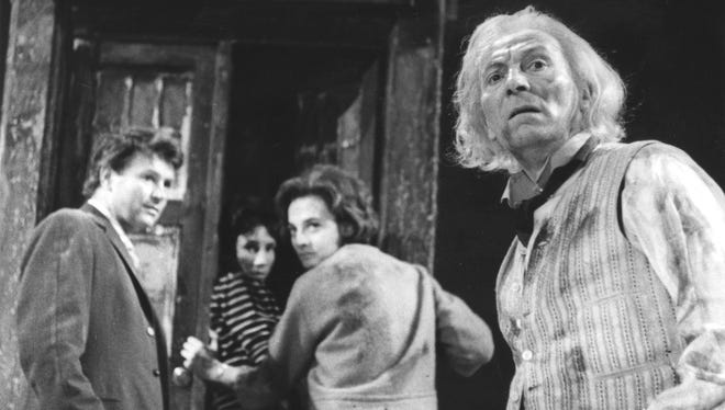 "The original Doctor Who, William Hartnell, who died in 1975, is seen here, at right, in the first storyline for the long-running BBC sci-fi fave, ""An Unearthly Child,"" in 1963."