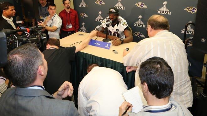 Baltimore Ravens safety Ed Reed answers questions during a press conference Wednesday in New Orleans.