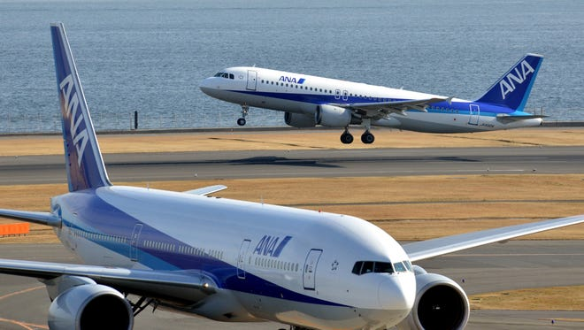All Nippon Airways (ANA) jetliners at Tokyo's Haneda airport.