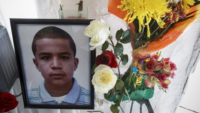 A portrait of Jose Antonio Elena Rodriguez, 16, is displayed at the family home on Oct. 15, 2012 in Nogales, Mexico.