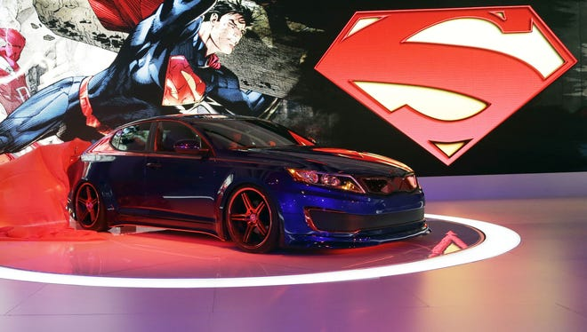 The Superman-Inspired Kia Optima hybrid is presented  today at the Chicago Auto Show.
