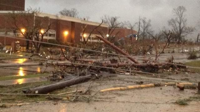 Storm damage in Hattiesburg, Miss.