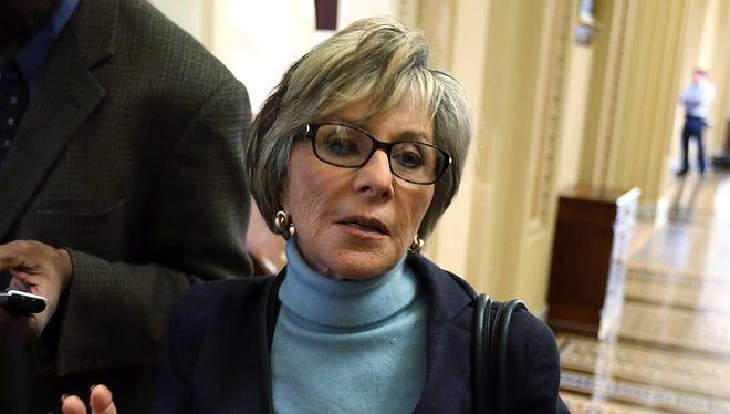 Sen. Barbara Boxer, D-Calif., speaks to reporters Jan. 29.