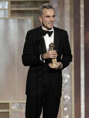 Daniel Day-Lewis accepts the Golden Globe last month for best actor in a motion picture drama for his titular performance in 'Lincoln.'