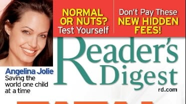 "Angeina Jolie appears in a cover story in the June issue of ""Reader's Digest"" magazine."