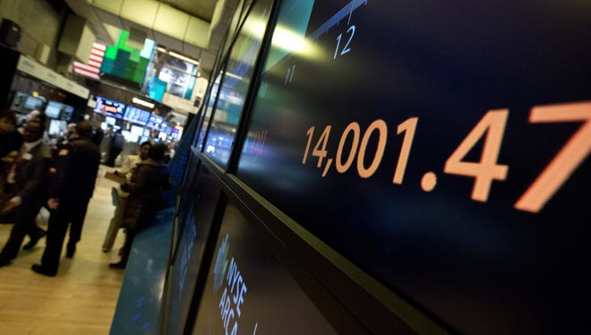 A screen on the trading floor of the New York Stock Exchange.