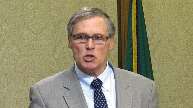 Washington state Gov. Jay Inslee at a news conference to discuss a tank leak at Hanford Nuclear Reservation, on Feb. 15 in Olympia, Wash.